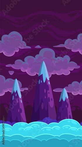 Foto op Aluminium Snoeien Vertical cartoon night background