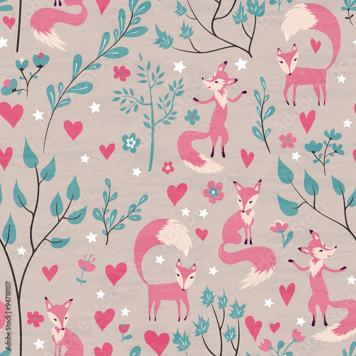 Cotton fabric Foxes in love forest.