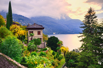 FototapetaLuxury villa and garden on Como Lake by Milan, Italy