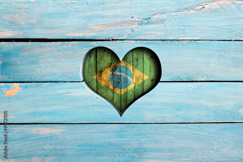 Photo sur Toile Brésil Love Brazil. Heart and flag on a blue wooden board
