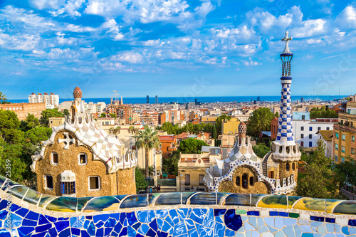 Photo Stands Barcelona Park Guell in Barcelona, Spain