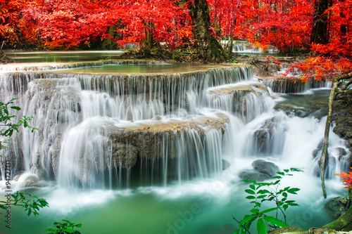 Recess Fitting Waterfalls Amazing waterfall in autumn forest