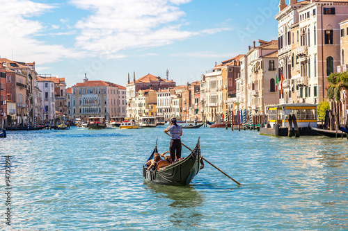 Spoed Foto op Canvas Gondolas Gondola on Canal Grande in Venice