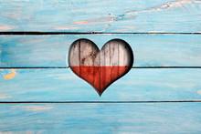 Love Poland. Heart And Flag On...