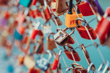 Colourful Love Padlocks On A Bridge Over Salzach River In Salzburg, Austria.