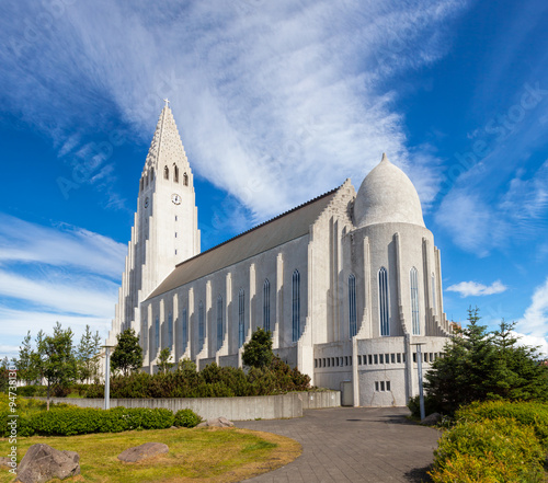 Fotografie, Obraz  Hallgrimskirkja Church in Reykjavik Iceland