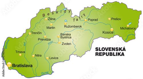 Karte von Slowakei Fototapet
