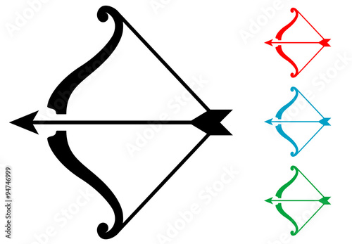 Fotografering Pictograma arco y flecha varios colores