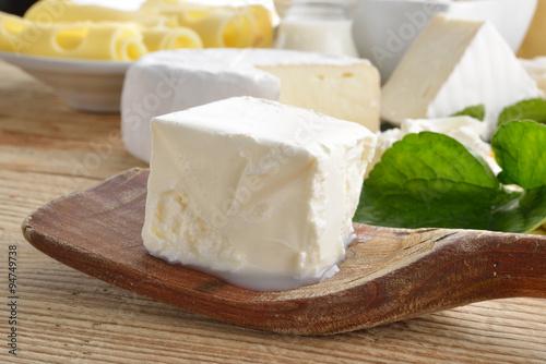 Spoed Foto op Canvas Zuivelproducten robiola formaggio cremoso fresco