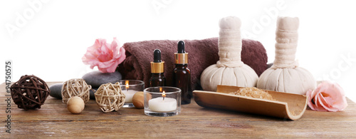 Poster Spa Beautiful spa set on wooden table against white background