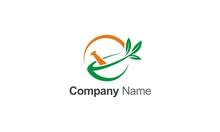 Mortar Green Leaf Organic Logo