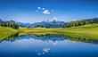 Leinwandbild Motiv Idyllic summer landscape with mountain lake and Alps