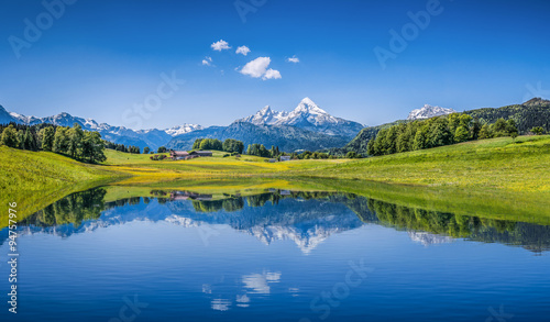 Fotobehang Bergen Idyllic summer landscape with mountain lake and Alps
