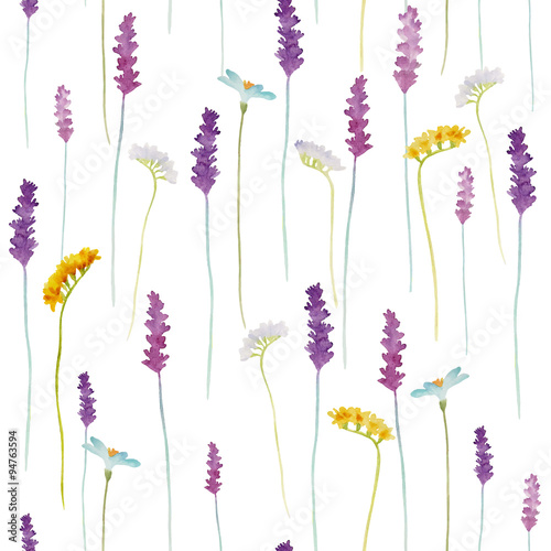 Photo  Watercolor flowers pattern.