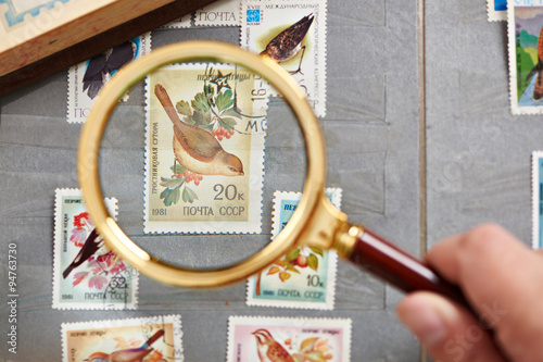Poster  Postage stamp with birds under magnifier on album