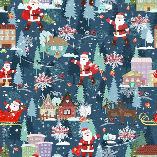 Cotton fabric seamless texture with christmas cityscape