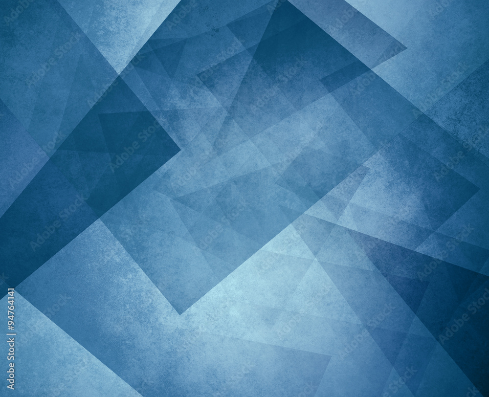 Fototapety, obrazy: abstract blue background with triangles and rectangle shapes layered in contemporary modern art design