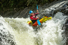 Kayak Waterfall Adventure People Outdoor Real Life Wild Jump Nature Waterfall Kayak Jump Sangay National Park Ecuador