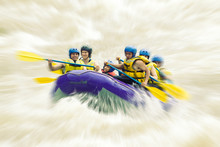 Raft Team White Water Whitewater Whitewater Rafting Blurred In Post Manufacture
