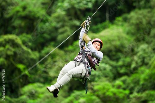 Obraz na płótnie zip line ziplin wire canopy people normal rope jungle forest zipline sport climb