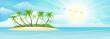 Summer tropical island with palms, sand, sky and sun