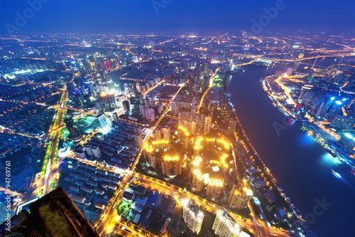 shanghai lujiazui financial center aside the huangpu river. Poster