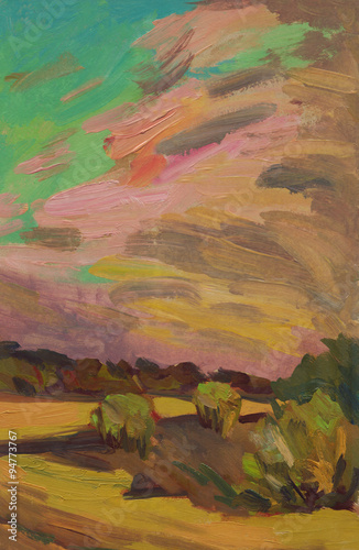 Poster Bordeaux vertical summer landscape, bright sky with clouds, trees, oil painting