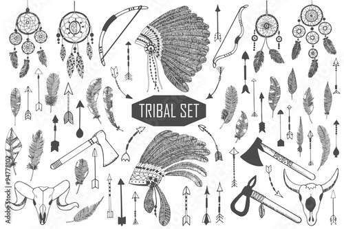 Hand drawn tribal set with bows, axes, arrows, feathers, dreamcatchers, bull skulls, war headdress elements Fototapeta