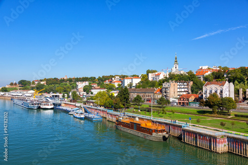 Belgrade from river Sava with tourist riverboats on a sunny day Canvas Print