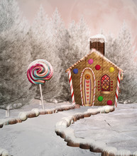 Gingerbread House In A Winter ...