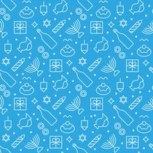 Hanukkah Seamless Pattern Modern Linear Art Design. Vector Illus