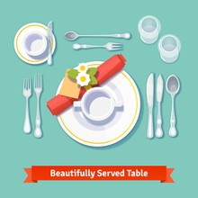 Beautifully Served Table. Form...