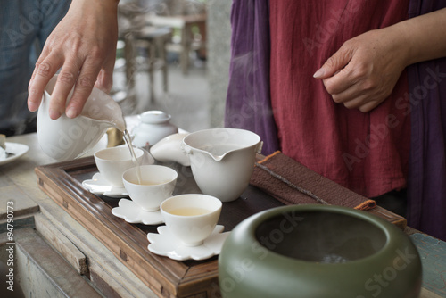 Papel de parede Chinese tea ceremony at traditional tea house in Jiufen, Taiwan 台湾・九份の茶藝館