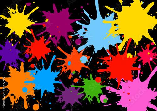 Éclaboussure, Peinture, Barbouillé, Éclabousser, Goutte. Ensemble De  Différentes Taches Du0027
