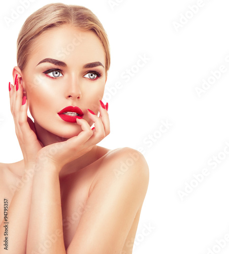 Obraz na plátně Beautiful fashion model woman with blond hair, red lipstick and nails