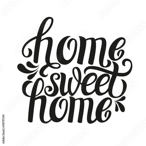 Photo  Hand lettering typography poster 'Home sweet home'
