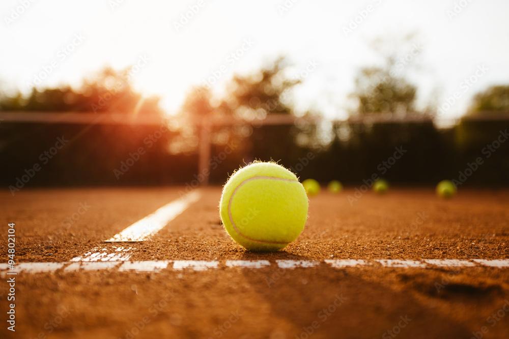 Photo  Tennis ball inside service box