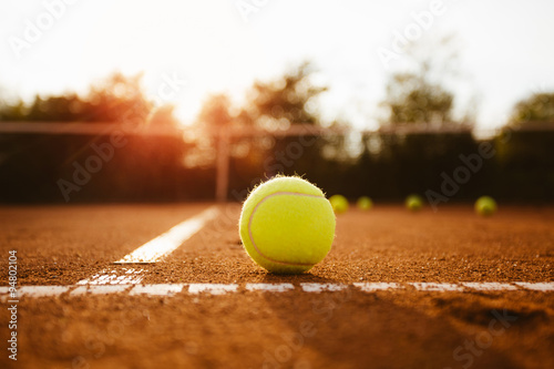 Tennis ball inside service box Canvas Print