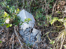 Discarded Old Car Battery Falling Apart In Hedge. Enviromental Pollution,