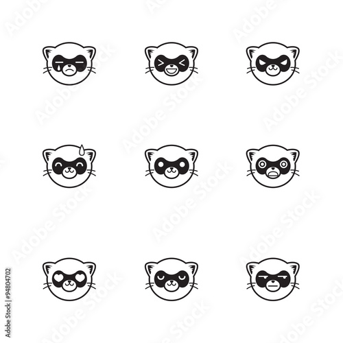 Vector trendy line style set of funny cartoon ferrets faces Wallpaper Mural