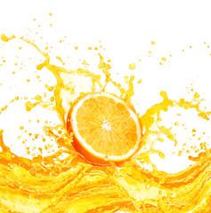 Fototapeta Orange juice splashing with its fruits isolated on white