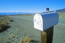 Solitary Mailbox By Side Of Highway,  Sierras,  CA