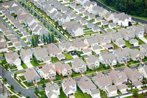 Fotografie, Obraz  Aerial view of housing development in Charlotte, North Carolina