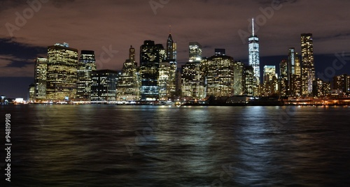 Spoed Foto op Canvas Bruggen Skyline of Downtown Manhattan at Night