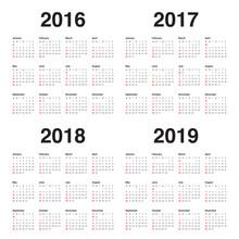 Calendar 2016 2017 2018 2019