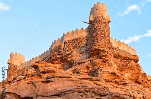 Saudi Arabia,Sakaka, sunset on the Qasr Za'abel fortress Fototapet