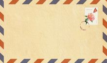 Vintage Air Mail Envelope With Postage Stamp