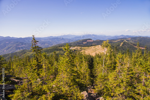 Foto op Canvas Herfst Autumn View of the Ukrainian Carpathian mountains,