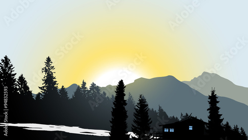 Aluminium Prints Mountain View with a lonely house