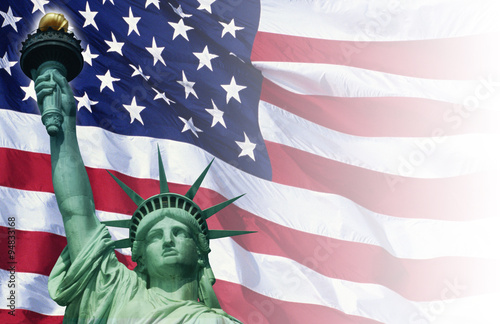 Cuadros en Lienzo Digital composite: American flag and the Statue of Liberty